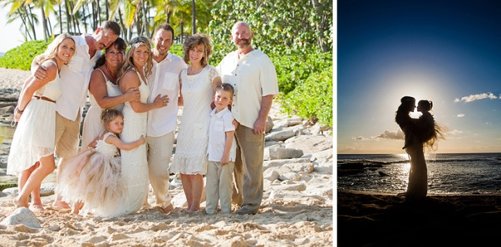 Vow renewal and family portrait at Koolina on the island of Oahu, Hawaii.